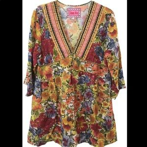 Johnny Was Floral Embroidered V Neck Tunic